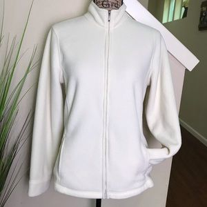L.L. bean fleece zip up in white- so cozy!